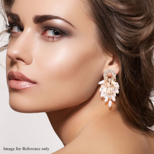 Simulated Diamond, White Austrain Crystal Dangling Earrings (with Push Back) in Gold Tone