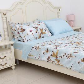 6 Piece Set  - Aqua and Blue Colour Floral Pattern Duvet Cover (Size 200x200 Cm),  4 Pillow Case (Size 4x50x70+5 Cm) and Fitted Sheet (Size 190x140+30 Cm)