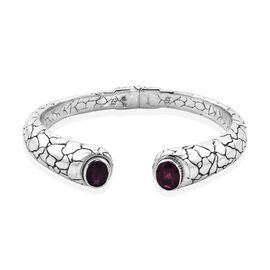 Royal Bali 7.24 Ct African Ruby Cuff Bangle in 18K Gold and Sterling silver 37 Grams 7.25 Inch