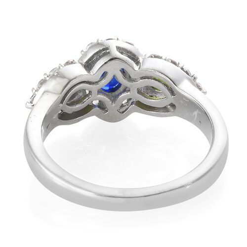 Blue Spinel (Ovl), Russian Diopside, Natural Cambodian Zircon Ring in Platinum Overlay Sterling Silver 1.250 Ct.
