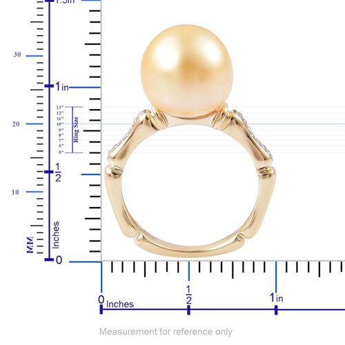 Limited Edition- 9K Yellow Gold Very Rare AAA South Sea Golden Pearl (Rnd 11.5-12 mm), Diamond (I3/G-H) Ring