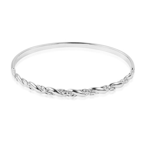 RACHEL GALLEY Rhodium Plated Sterling Silver Bangle (Size 7.5), Silver wt 16.04 Gms.