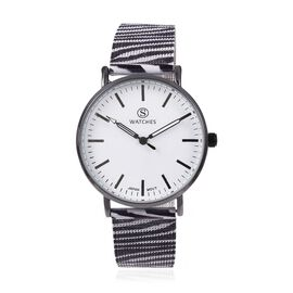 STRADA Japanese Movement Water Resistant Watch with Zebra Pattern Mesh Chain Strap