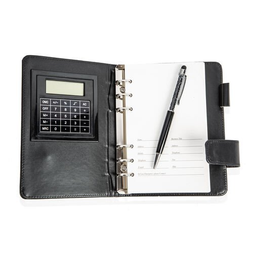 3 Piece Set - Diary Organiser with Calculator and Pen (Size 18x12.8 Cm) Colour Black