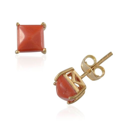 Natural Mediterranean Coral (Sqr) Earrings in 14K Gold Overlay Sterling Silver 1.250 Ct.