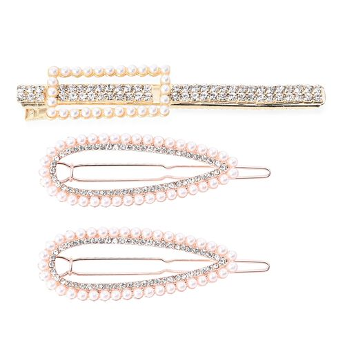 Set of 3 - Simulated White Pearl and White Austrian Crystal Hair Clips with Gift Box in Rose and Gol