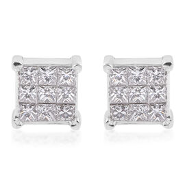 RHAPSODY 950 Platinum IGI Certified Diamond (Sqr) (VS/E-F) Cluster Stud Earrings (with Screw Back) 0