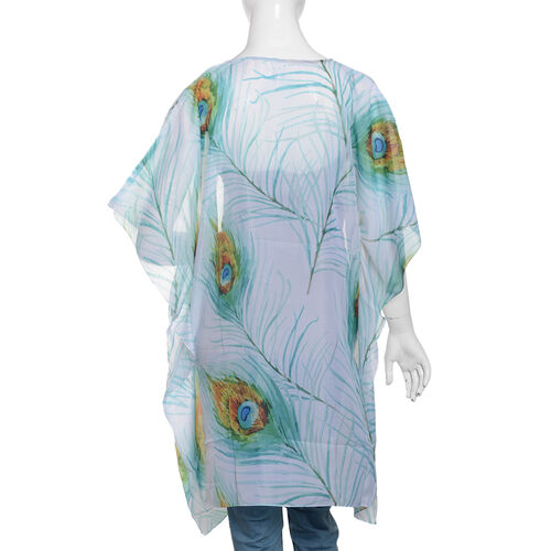 Turquoise, White and Multi Colour Peacock Feathers and Leaves Pattern Kaftan (Size 90x65 Cm)