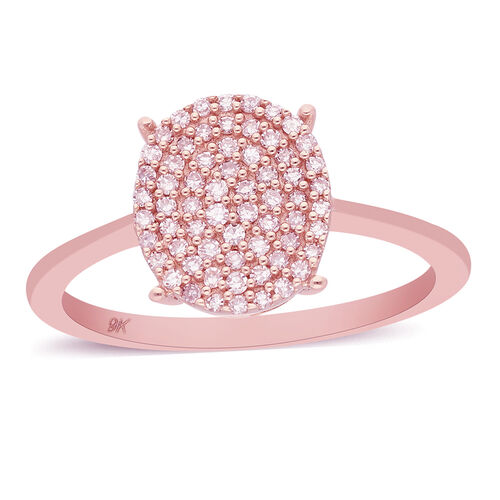 9K Rose Gold Pink Diamond Cluster Ring 0.25 Ct.