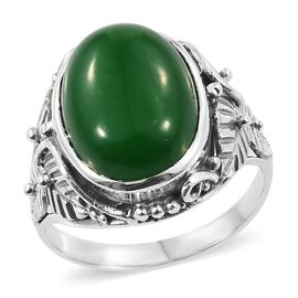 11.25 Ct Green Jade Solitaire Ring in Sterling Silver 6.21 Grams