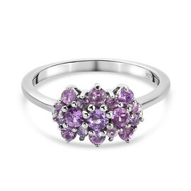 One Time Deal -Purple Sapphire Cluster Ring in Platinum Overlay Sterling Silver