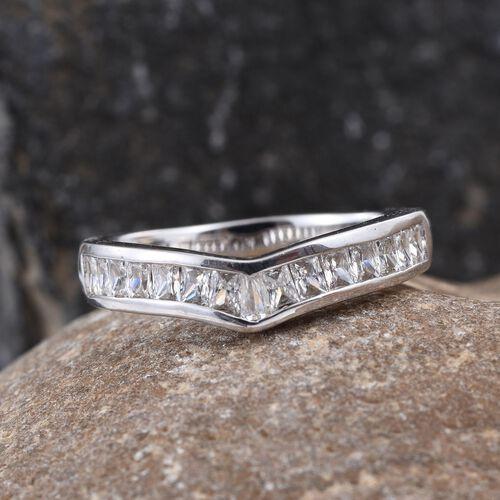 J Francis - Platinum Overlay Sterling Silver (Bgt) Wishbone Ring Made with SWAROVSKI ZIRCONIA