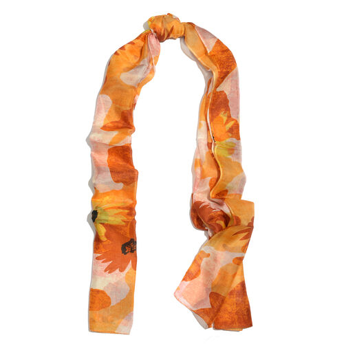 100% Mulberry Silk Yellow, Orange and Multi Colour Floral Pattern Scarf (Size 180x100 Cm)