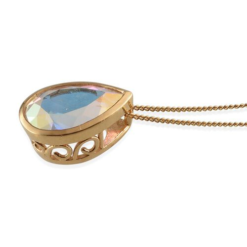 Mercury Mystic Topaz (Pear) Solitaire Pendant With Chain in 14K Gold Overlay Sterling Silver 5.500 Ct.