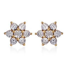 One Time Deal- Diamond (Rnd) Floral Earrings (with Push Back) in 14K Gold Overlay Sterling Silver