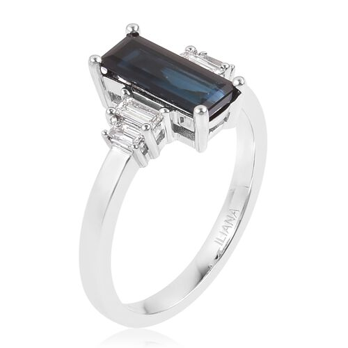ILIANA 2 Carat AAAA Monte Belo Indicolite and Diamond (SI/G-H) Ring in 18K White Gold