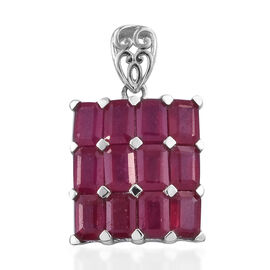 9.75 Ct African Ruby Cluster Pendant in Platinum Plated Sterling Silver