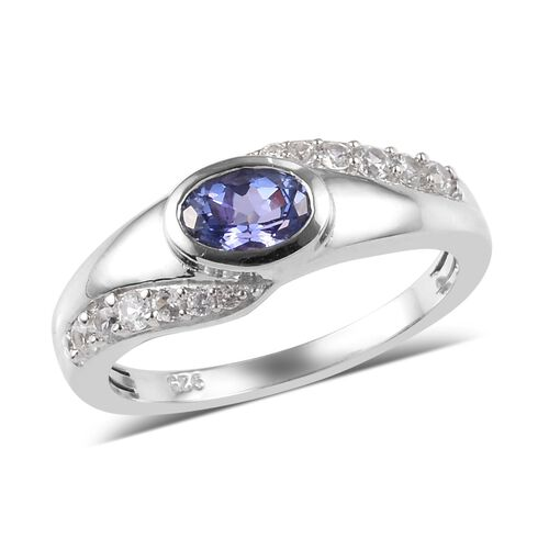 1 Carat Tanzanite and Natural Cambodian Zircon Solitaire Ring in Platinum Plated Silver