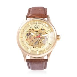 GENOA Automatic Skeleton Water Resistant Watch in Dual Tone with Leather Strap - Brown