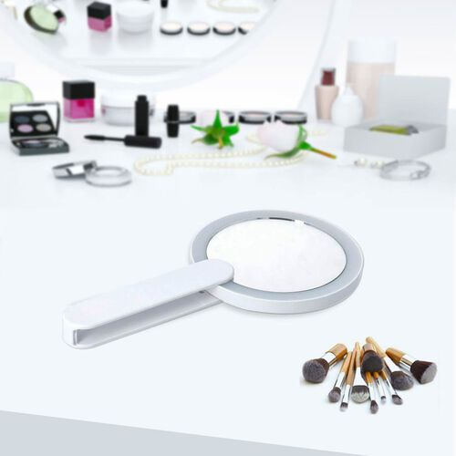 Handheld Battery Operated LED Makeup Mirror with Rotary Handle (Size 20x11Cm, Dia: 33cm) - White