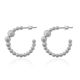 Italian Made Diamond Cut Bead J Hoop Earrings in Sterling Silver with Push Back