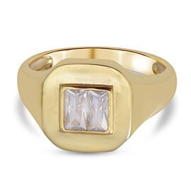 ELANZA Simulated Diamond Ring in Yellow Gold Overlay Sterling Silver