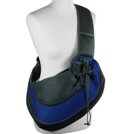Grey and Dark Blue Pet Bag with Shoulder Strap - Max Wt. 4-5Kgs (Size 43x15x25cm)