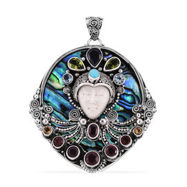 Princess Bali Collection OX Bone Carved Face (Ovl 20x15 mm), African Ruby, Black Sapphire and Multi Gemstone Pendant in Sterling Silver 34.910 Ct, Silver wt 25.10 Gms.