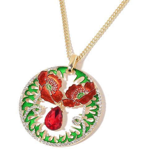 Simulated Ruby and White Austrian Crystal Red and Green Enameled Pendant with Chain (Size 22 with 2 inch Extender)