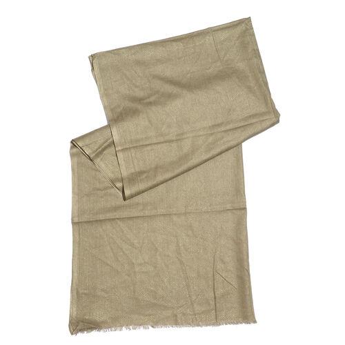 100% Modal Gold Foil Print Olive Colour Scarf (Size 180x70 Cm)