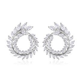 Simulated Diamond Stud Earrings in Rhodium Plated Sterling Silver 4.18 Grams