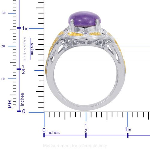 Designer Collection Purple Jade (Ovl 6.50 Ct), Tanzanite Ring in 14K YG and Platinum Overlay Sterling Silver 6.740 Ct.