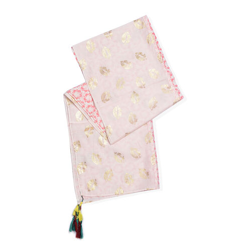 85% Cotton 15% Silk Pink, Gold and White Colour Flower Pattern Scarf with Tassels (Free Size)