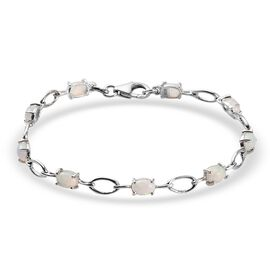 Ethiopian Opal Line Bracelet 1 Row (Size - 7) in Platinum Overlay Sterling Silver 3.00 ct  3.000  Ct