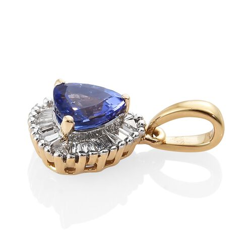 ILIANA 18K Yellow Gold AAA Tanzanite (Trl), Diamond Pendant 1.000 Ct.