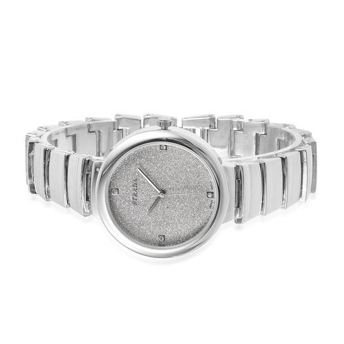 STRADA Japanese Movement Silver Stardust Dial White Austrian Crystal Studded Watch in Silver Tone