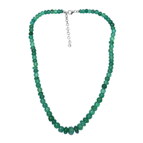 180 Ct Verde Onyx Graduated Beaded Necklace in Platinum Plated Sterling Silver