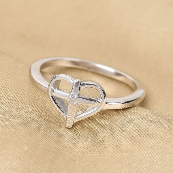 White Diamond Heart with Cross Ring in Platinum Overlay Sterling Silver