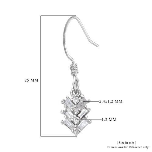 9K White Gold SGL Certified Diamond (I3/G-H) Hook Earrings 0.33 Ct.