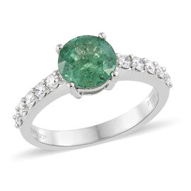 Signature Collection- RHAPSODY 950 Platinum AAAA Kagem Zambian Emerald (Rnd), Diamond (VS/E-F) Ring 1.650 Ct.