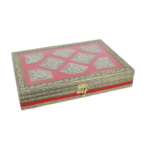 Silver Handcrafted Golden Embossed Aluminum Jewellery Box with Transparent Window (27.94x20.32x5.08