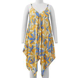 Yellow V-Neck Slip Dress with Blue Colour Leaf Pattern