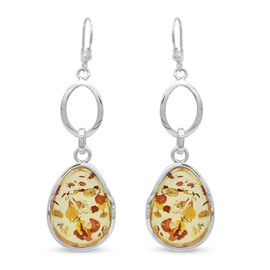 Natural Baltic Amber Lever Back Earrings in Sterling Silver, Silver wt 9.80 Gms