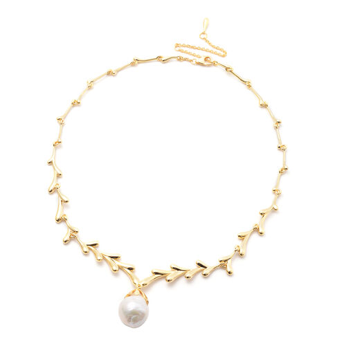 LucyQ Pearl Collection- LucyQ Freshwater White Baroque Pearl Drip Design Necklace (Size 20) in Yello