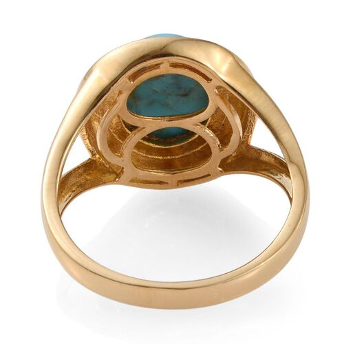 Arizona Matrix Turquoise (Ovl) Solitaire Ring in 14K Gold Overlay Sterling Silver 4.000 Ct.