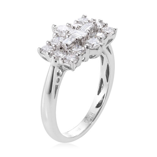 Limited Available- RHAPSODY 950 Platinum IGI Certified Diamond (Rnd) (VS/E-F) Boat Cluster Ring 1.000 Ct.