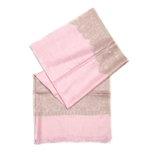 Pink and BeigeColour Woven Scarf (Size 180x70 Cm)