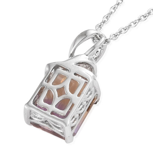 Natural Anahi Ametrine (Oct), Boi Ploi Black Spinel and Natural White Cambodian Zircon Pendant with Chain in Platinum Overlay Sterling Silver 4.750 Ct