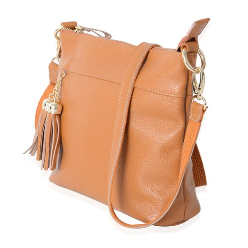 Super Soft 100% Genuine Leather Mustard Colour Cross Body Bag with Tassels and Adjustable and Removable Shoulder Strap (Size 23x20x7.5 Cm)