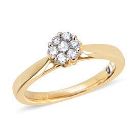 New York Close Out - 9K Yellow Gold Diamond (I2/G-H) (Rnd), Kanchanaburi Blue Sapphire Ring 0.250 Ct
